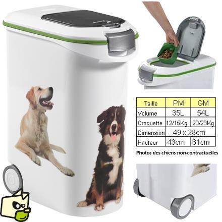 container croquettes chien 15 kg