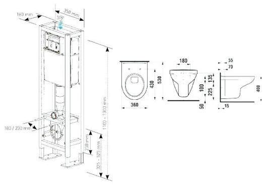 dimension wc suspendu