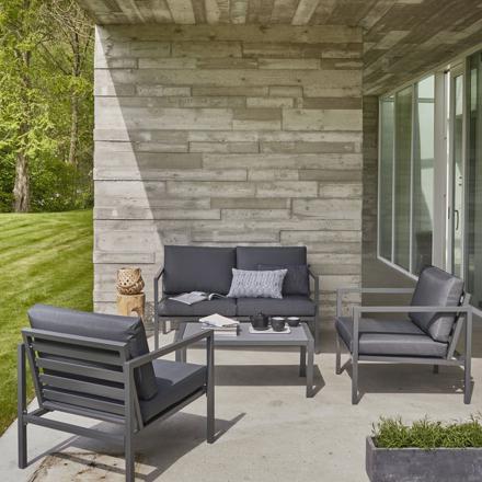salon de jardin aluminium gris